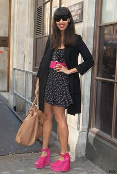 Jameela Jamil pack a colour punch with fuchsia and black ensemble