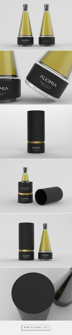 ALKIMIA Premium Olive Oil packaging design concept by Nancy Nieto & Isabel Tabarini Clever Packaging, Luxury Packaging, Bottle Packaging, Brand Packaging, Design Packaging, Label Design, Branding Design, Branding Agency, Deo Bio
