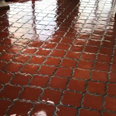 37 year old Mexican Tile Floor Restored These fleur de Liz Mexican tiles were hammered before we stripped cleaned and sealed them with a hi