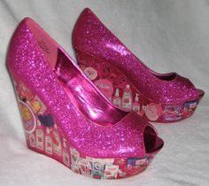 Retro Barbie Beauty Hot Pink Sparkle Glitter Platform Wedge Heels 80s 90s Size 10