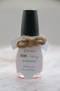You are TOE - tally awesome ~ Manicure Gift ~ Nail Polish ~ Baby Shower Party Favor ~ Personalized Tag ~ Baby Onesie Thank You Gift Tags ~www.KendollMade.com #thankyougifts