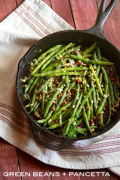Sautéed Green Beans with Pancetta and Pine Nuts are a simple side dish that will satisfy both the eaters and the cooks in your house.