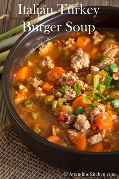 Turkey Burger Soup Italian Turkey Burger Soup - one of my most popular soup recipes. Made with lean ground turkey, so healthy and hearty.Italian Turkey Burger Soup - one of my most popular soup recipes. Made with lean ground turkey, so healthy and hearty. Ground Turkey Soup, Ground Beef, Recipes With Ground Turkey, Turkey Vegetable Soup, Turkey Stew, Turkey Broth, Veggie Soup, Ground Chicken, Healthy Recipes