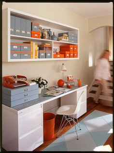 Love color splashes! Office Organization, Color coded, Bright, Storage, Shelving, Craft room, Home office, Open