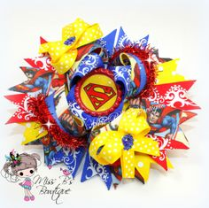 #superman #supergirl #overthetop #hairbow #missbsbowtique05  Check out Miss B's Bowtique to see our weekly auctions and place your custom order today! www.facebook.com/missbsbowtiqe05 www.etsy.com/shop/missbsbowtique05