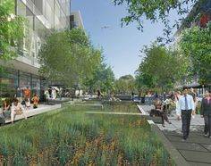 Illustration of proposed Green Street - Innovation Square - University of Florida - by Perkins+Will Architecture Graphics, Landscape Architecture, Landscape Design, Sustainable City, Sustainable Design, Rotterdam, Urban Ideas, Roads And Streets, Linear Park