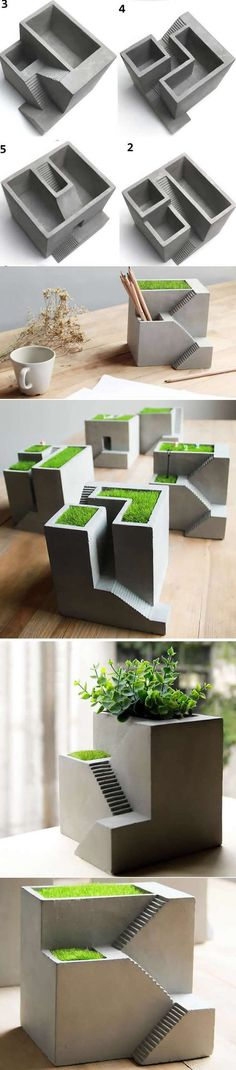 Concrete Architecture Stairs Succulent Planter Flower Pot Pen Pencil Holder Office Desk Stationery Organizer