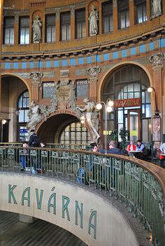 Prague old train station, café Kavarna have been through a few old train stations & the work put into them was absolutely gorgeous architecture .