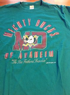 d22219c72 90s Men s Vintage Anaheim Mighty Ducks NHL Tee Shirt Made In USA XL Extra  Large 1994 by SmashingRetro on Etsy  nhl  anaheim  ducks
