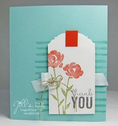 SU - thank you card - Painted Petals Stamp Set and Ornate Tag Topper Punch - Occasions Catalog Watercolor Effects, Treat Holder, Stampin Up Cards, Thank You Cards, Your Cards, Punch, Catalog, Greeting Cards, Bloom