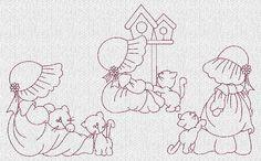 Sunbonnet Sue and Kitties Redwork Machine Embroidery Designs These are machine embroidery designs. NOT hand embroidery designs. Please read Sunbonnet Sue, Machine Embroidery Patterns, Hand Embroidery Designs, Quilt Patterns, Applique Quilts, Embroidery Applique, Embroidery Stitches, Quilting Projects, Quilting Designs