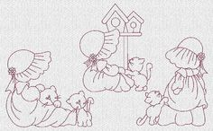 sunbonnet sue embroidery patterns | Sunbonnet Sue and Kitties Redwork Machine by embroiderygirl