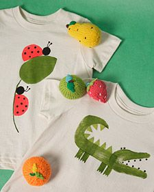 so going to do this for my bug party - there is also a video that shows how to do it!  (CA) Potato-Print Baby Clothes - Martha Stewart Crafts