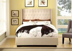 Mira Tan Linen Platform Queen Bed at $498 with Free Delivery in the Henderson/Las Vegas area.