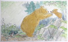 Children's Book Illustration 'Little Bear jumped off Bear Rock into the arms of Big Bear.'  From 'Well Done, Little Bear' published by Walker Books Ltd in 1999  By Barbara Firth
