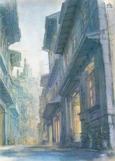 [일러] [pixiv] K,Kanehira_no Illustration Landscape Concept, Fantasy Landscape, Environment Concept Art, Environment Design, Perspective Art, Environmental Art, City Art, Anime Scenery, Conceptual Art