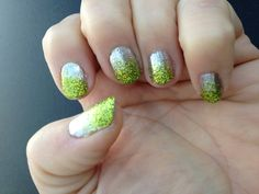 Loose glitter gradient nail - glitter in my on-line stamping store!  Lime green with Silver polish.