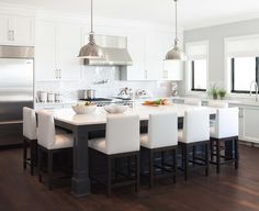 white & gray kitchen + white & silver backsplash