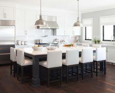 white & gray kitchen + white & silver backsplash