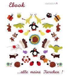 Ebook,E-book Häkelanleitung, Applikationen,Tiere