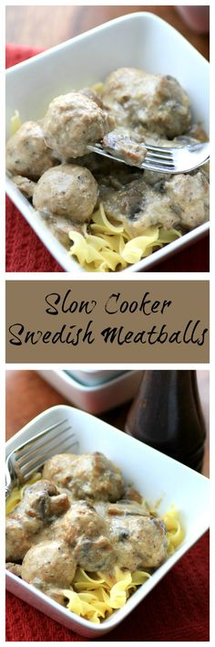 Slow Cooker Swedish Meatballs by Noshing With The Nolands. Pork and turkey are used for the meatballs to add a unique taste. They are so easily cooked up in the slow cooker!