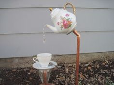 english tea pot tea cup and saucer garden stakes, gardening, outdoor living, repurposing upcycling