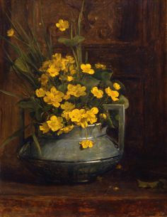 George Reid Marsh Marigold 1878 - still life quick heart Still Life Photos, Still Life Art, Flower Vases, Flower Art, Marsh Marigold, Still Life Flowers, Arte Floral, Mellow Yellow, Matisse