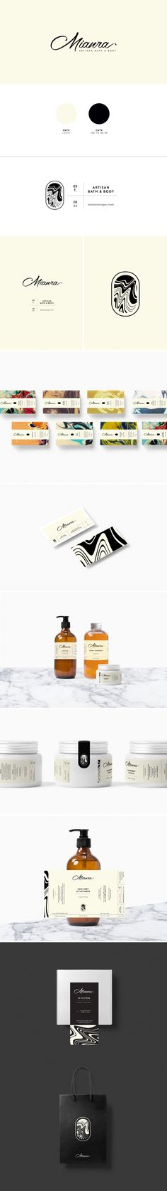 Mianra Artisan Bath & Body Branding by Cocorrina Web Design Agency, Brand Identity Design, Corporate Design, Graphic Design Typography, Branding Design, Logo Branding, Business Card Maker, Business Card Design, Lettering