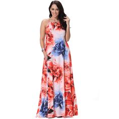 L-7XL Plus Size Women's Maxi Long Pink Flower Print Spaghetti Strap Dress  | eBay