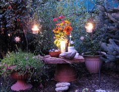 Witch Altar One day I hope to have an outside altar like this. The lanterns are lovely, and I love all the surrounding greenery, it looks like a dream! Patio Pergola, Patio Bar, Backyard Patio, Pergola Plans, White Pergola, Modern Pergola, Pergola Swing, Patio Seating, Autel Wiccan
