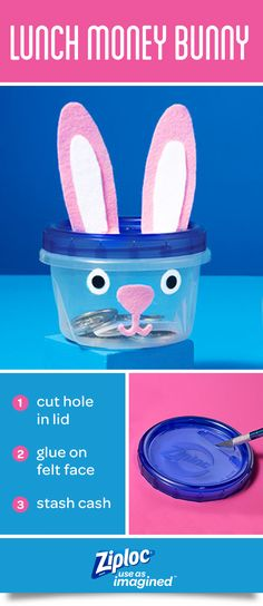 Put a new twist on a classic piggy bank. Ziploc® Twist 'n Loc® containers keep spare change organized and easy to access. When kids are ready to cash in, the lid easily twists off like a jar. Have an adult cut a coin hole in the lid and decorate with felt, construction paper, pipe cleaners and any art supplies you have on hand. These DIY craft ideas for kids are fun and easy to make and come together in a few simple steps.