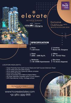 by Conscient & Hines offering 3 BHK and 4 BHK apartments with modern amenities like exclusively planned to retain sun-filled area, ventilated area and appealing designs for quality space, resort pool and more services expand your experience. Real Estate Advertising, Real Estate Flyers, Creative Advertising, Company Profile Presentation, Presentation Folder, Property Ad, Property Design, Booklet Design, Book Design Layout