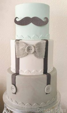 This makes for a perfect Baby Shower Cake.of course for a boy ☺️My top layer will be light blue! or Hipster cake! Baby Cakes, Cupcake Cakes, Baby Party, Baby Shower Parties, Baby Boy Shower, Boy Baby Showers, Men Shower, Gateau Baby Shower Garcon, Cakes For Boys