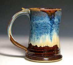 tankard stein caramel blue cream