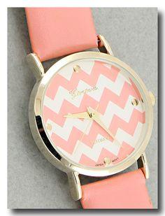 Geneva Pink & Gold Chevron Watch - LOVE THIS!