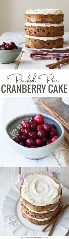 Poached pear and cranberry cake Delicious Cake Recipes, Cupcake Recipes, Yummy Cakes, Dessert Recipes, Holiday Cakes, Christmas Desserts, Holiday Parties, Christmas Cakes, Cranberry Cake