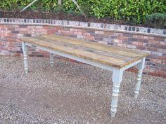 Plank Top Reclaimed Pine Farmhouse Table 5411