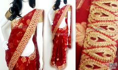 Red cotton saree CODE: SD085 PRICE: Rs.3180 SAREE: Red cotton brasso saree with all over self zari motif and intricate zari cutwork border. BLOUSE: Golden cotton shimmer material