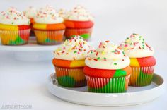 Rainbow Cupcakes with Buttercream Frosting Recipe