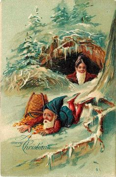 Fantasy Merry Christmas 1908 Gnomes Gold Coins Collectible Vintage Postcard #Christmas