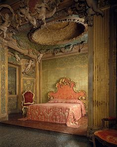 Bedroom from the Sagredo Palace, Venice  Stuccowork probably by Abbondio Stazio of Massagno  (Italian, 1675–1745)