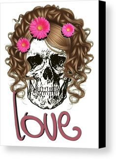 Miss Skull Canvas Print by Muge Basak.  All canvas prints are professionally printed, assembled, and shipped within 3 - 4 business days and delivered ready-to-hang on your wall. Choose from multiple print sizes, border colors, and canvas materials.