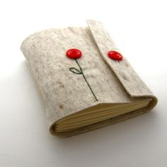 Handmade Felt Button Up Poppy Journal by peaseblossomstudio