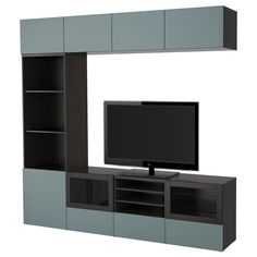 BESTÅ TV storage combination/glass doors IKEA The drawers and doors close silently and softly, thanks to the integrated soft-closing function. Tv Ikea, Tv Stand With Storage, Tv Storage, Ikea Lack Tv Stand, Living Room Modern, Living Room Designs, Living Rooms, Muebles Rack Tv, Homes
