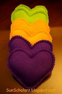 Pocket Warmers. Fill felt hearts with rice. Microwave to heat. Just like mom's rice socks!