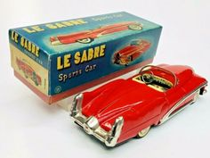 """Exc 1951 Buick Le Sabre Concept Friction Tin Car W/ Box By Yonezawa Japan 8"""" NR   eBay Toyota Corona, Buick Lesabre, Ford Fairlane, Tin Toys, Rare Antique, Car Ins, Chevy, Volkswagen"""