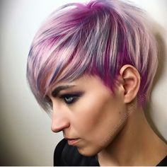 Asymmetric cut w/ pinks purples