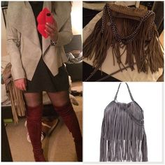 Fringe Bag✌️ Designer inspired bad. Falabella inspired mini Bella metallic fringe faux suede shoulder bag. No need to spend more when you can have it for less! In excellent condition. High quality inspired bag. Worn very few times. Like new. Dust bag & ID cards included. Bags Shoulder Bags