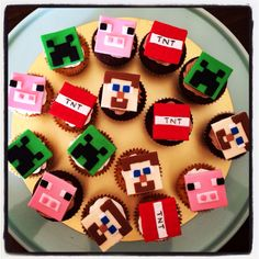 Minecraft cupcakes by createdbyemily https://www.facebook.com/pages/Created-by-Emily/204807809538796