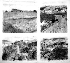 Sketchbook - Charcoal tonal studies of Dorset Landscape.   Felicity House